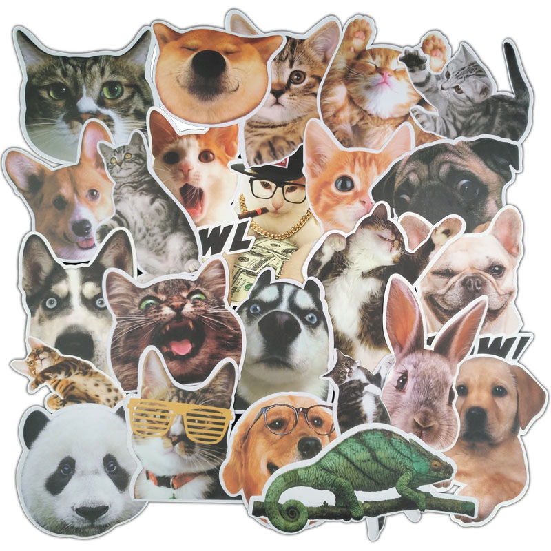 TD ZW 24Pcs/Lot Lovely Cute Pets Puppy Cat Stickers For Car Laptop Bicycles Backpack Notebook Home Decal DIY Waterproof Stickers