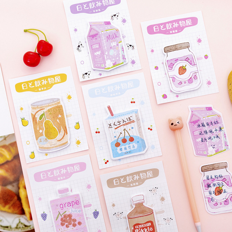 Beverage Shop Series Strawberry Jam Pear Milk Memo Pad Sticky Notes Memo Notebook Stationery Papelaria Escolar School Supplies