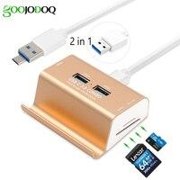 2 in 1 3 Ports USB 3.0 Hub Micro USB OTG Hub Splitter mit SD TF Kartenleser + 1 Mt Kabel für Macbook PC Laptop Handyhalter
