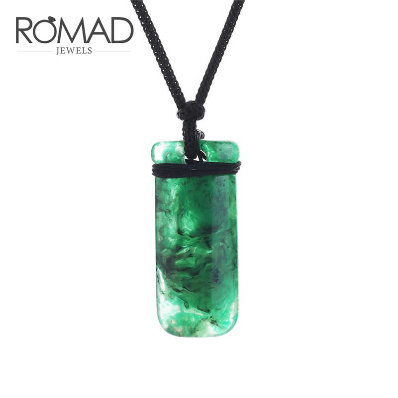 ROMAD Natural Green Color Zircon Necklace Witcher Initial Necklace Choker Pendants Resin Handmade Ethnic Pendant Ore Stone R4