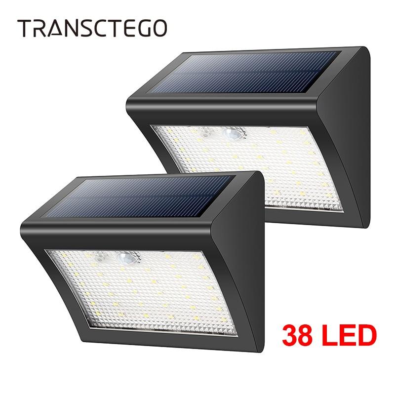 Outdoor Solar Light 38 LED Power PIR Motion Sensor 3 Modes Waterproof For Garden Patio Path Street Wall Lamp