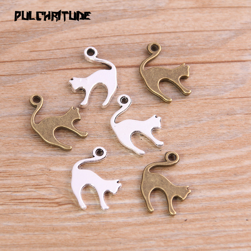 PULCHRITUDE 16PCS 14*19mm New Product Two Color Lovely Cat Charms Animal Pendant Jewelry Metal Alloy Jewelry Marking