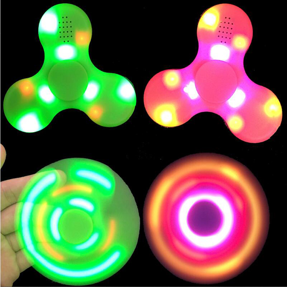 LED Light Fidget Spinner bluetooth speaker music Finger EDC Hand Spinner Tri For Kids Autism ADHD