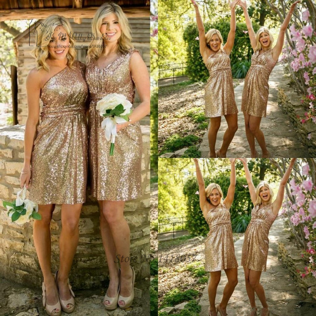 0284a21fc5062 US $71.2 20% OFF|Cheap Navy Blue Gold Sequin Bridesmaid Dress Short  Bruidsmeisjes Jurk Sparky One Shoulder Sexy Wedding Guest Dresses 2017  China-in ...