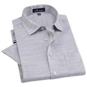 PAULJONES Men's Short Sleeve Cotton Linen Male Dress Shirt