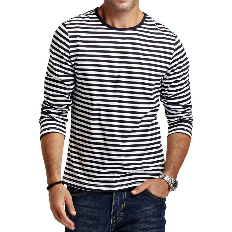 E-BAIHUI New Autumn Casual Striped T Shirt Men Long Sleeve Men's brand T Shirts Slim Fitness Mens Clothes Trend Tops Tees CT067