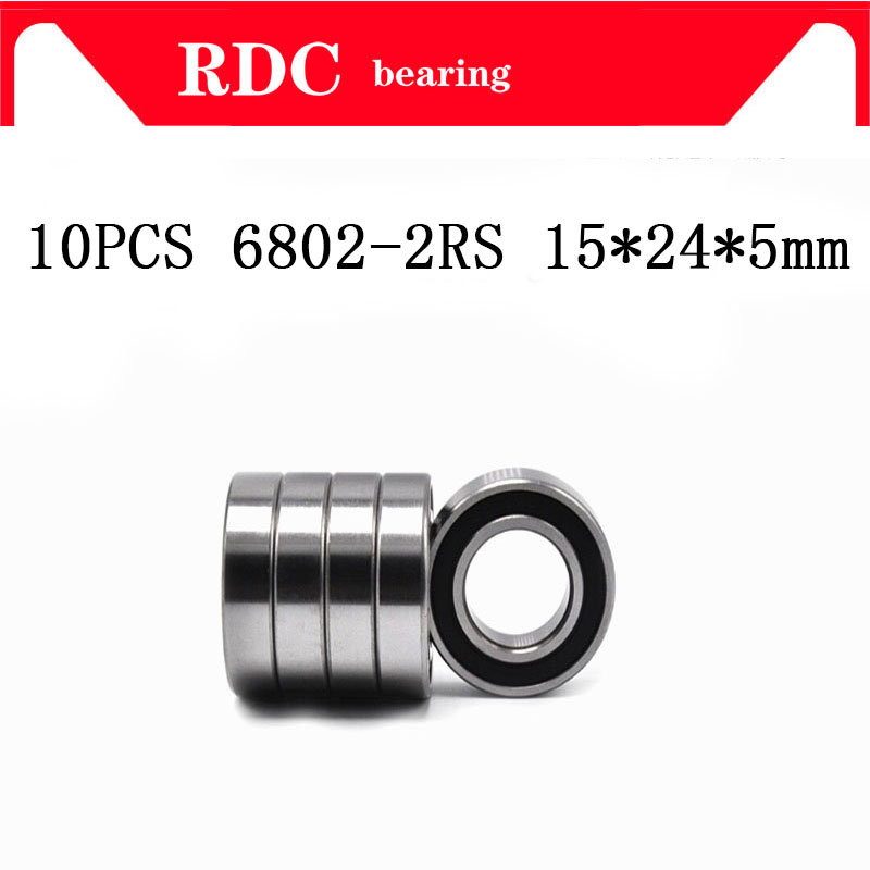 Free Shipping 10PCS ABEC-5 6802-2RS High quality 6802RS 6802 2RS RS 15x24x5 mm Thin Wall Rubber seal Deep Groove Ball Bearing