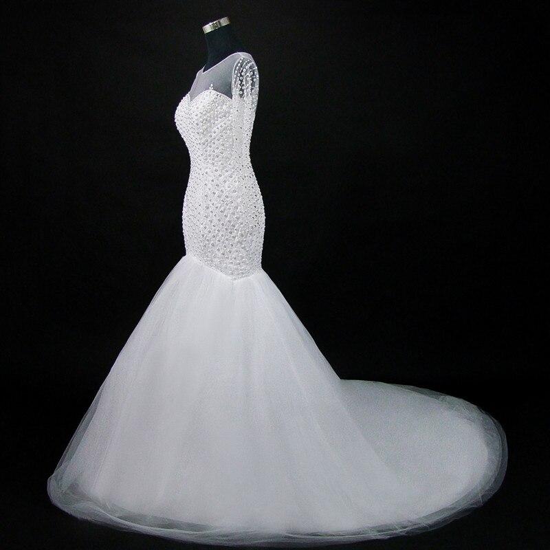 QQ Lover 2019 New Stunning Beading Long sleeve Mermaid Wedding Dress Elegant Wedding Gowns