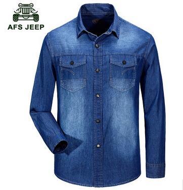AFS JEEP Marke Hemd Jeans Männer Hemd 100/% Baumwolle Camisa Masculina Chemise Homme Casual Mens Jeans Shirts Mantel Größe 3XL #7503
