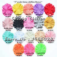 100 pcs/lot , 3''shabby chiffon eyelet flowers for Girl and kids headband 18 colors