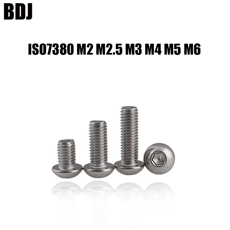 M2 M2.5 M3 M4 Ni-Plated Button Head Socket Screw Allen Bolt 10.9Grade For Fixing