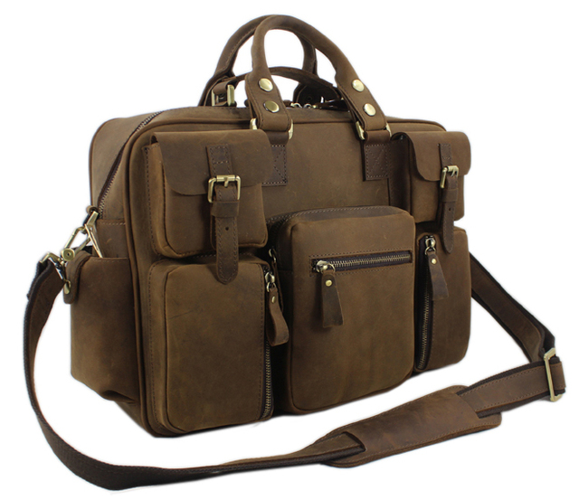 2d61b751b21e Vintage Crazy Horse Leather Men s Messenger bag Leather shoulder bag men  crossbody bag Large Briefcase male