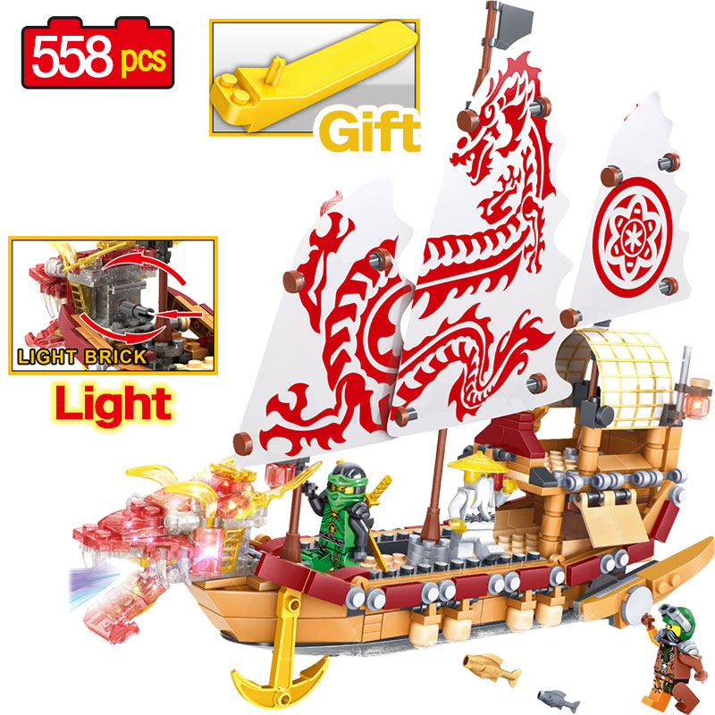 558PCS Newest Building Blocks Ninjagoes Movie Boat Model Building Block Toys for Children Compatible legoINGLYS Technic Ship Toy 8 in 1 military ship building blocks toys for boys