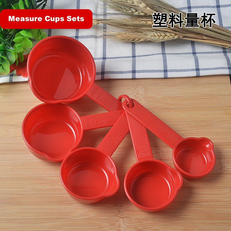 Measuring Cups Red Plastic set of 5 Cups Kitchen Utensils Kitchen Gadgets Baking Items Measuring Cups Made in Taiwan