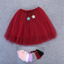 1-10Y beautiful fluffy skirts for girls soft 3 layers tulle tutu childrens skirt baby faldas saias one all year