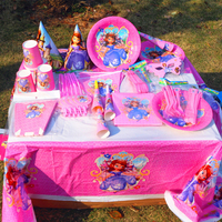 princess sofia party theme supplies cups plates banner straw kid girl birthday decoration tableware set baby shower party supply