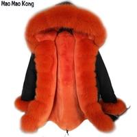 brand 2019 new fur coat long winter jacket coat women outerwear warm thick parka big natural real fox fur collar hooded
