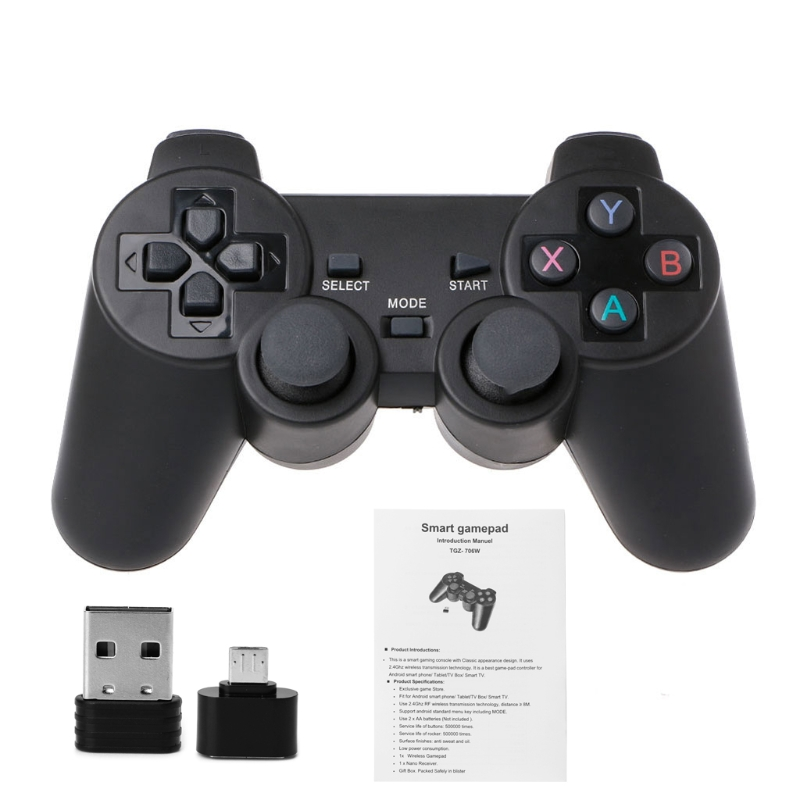 2.4G Wireless Gaming Joypad Controller Gamepad With Micro USB OTG Converter Adapter For PS3 Android Phone Tablet PC Smart TV Box