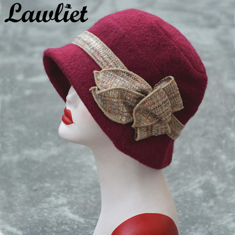 d4243999a1d41 Detail Feedback Questions about Lawliet Flower Floppy Women Winter Hat Wool  Fedoras Downton Abbey Bucket Hats Gray Black Gatsby Vintage Style Cloche ...