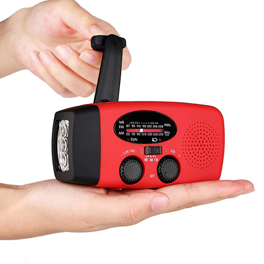 3 In 1 Portable Solar Emergency Charger Hand Crank Generator FM/AM Radio With LED Flashlight outad protable emergency hand crank charger 3led flashlight generator solar am fm wb radio waterproof emergency survival tools