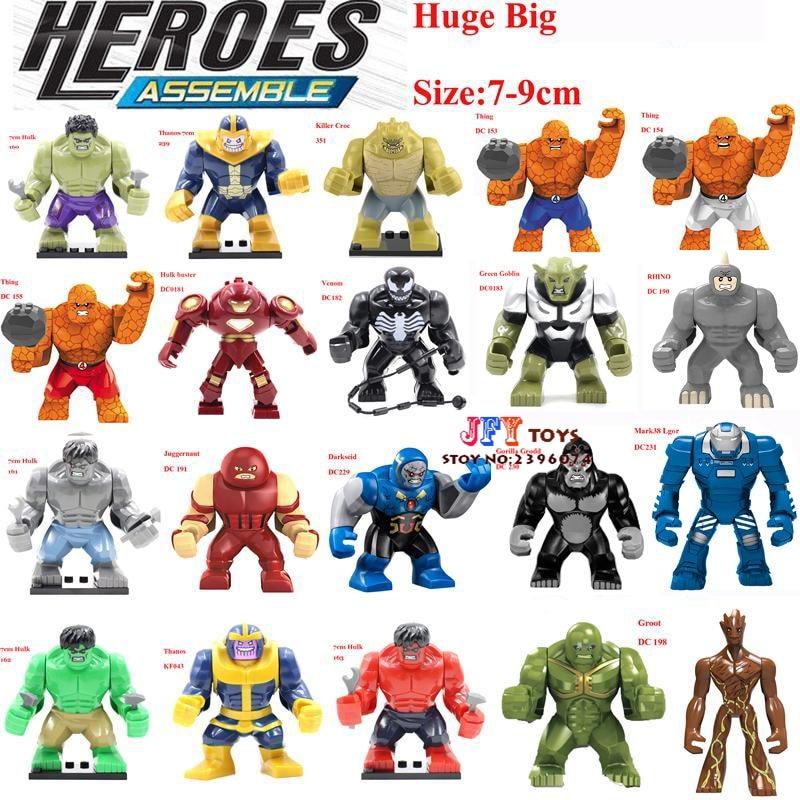 Single Sale Large big sieze Super Heroes Avengers Thanos Hulk Venom Ironman Building Blocks Toys for children brinquedos menino