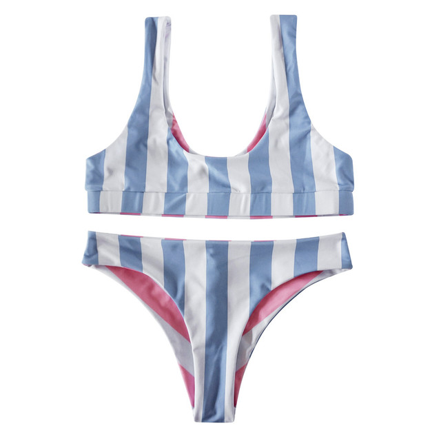 Blue Bikini Striped bikinis Push Up Women Blue Stripe Bikini Bra Swimsuit Bathing Beachwear Vikinis Para Mujer 2019