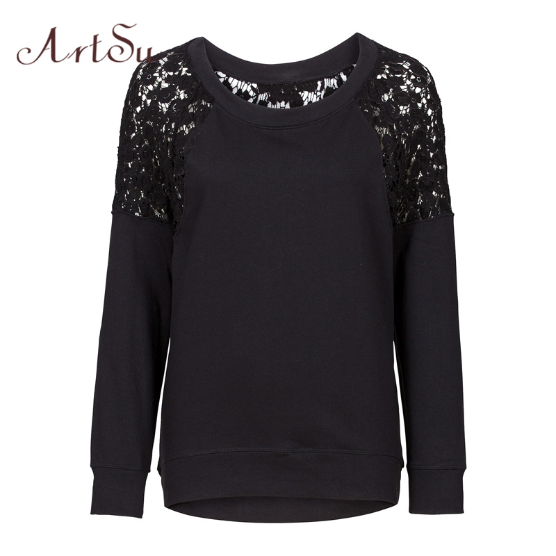 ArtSu Women Lace Floral Hoodies Sweatshirts O Neck Stitching Hollow Out Casual Tops Hoody Autumn Winter Loose Pullover ASBL20019