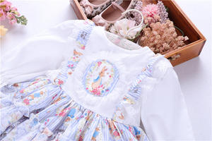 Image 3 - spring baby girls dresses rufles long sleeve spanish vintage lolita rabbit bunny kids outfit childrens clothing boutiques