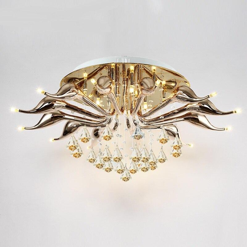 Simple modern living room LED Ceiling Lights modern designer light creative bedroom Crystal swan ceiling lamp LU71238 YM