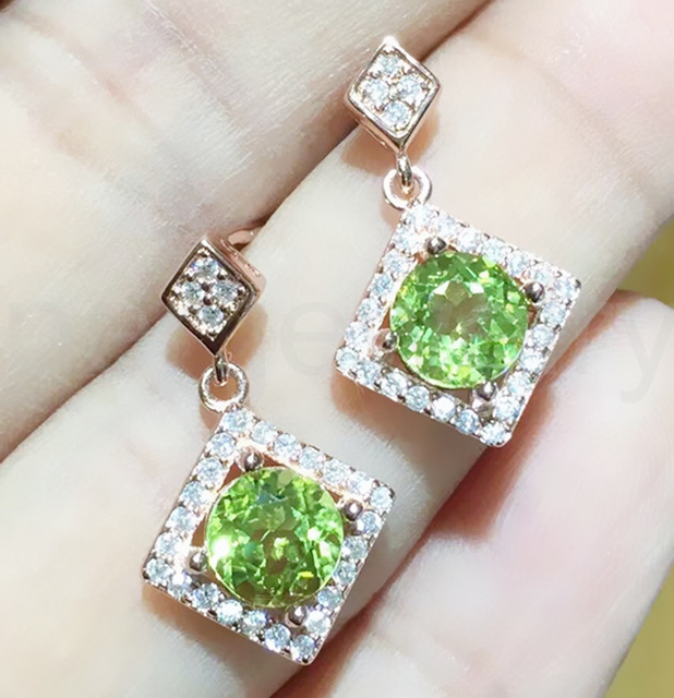 Natural Peridot Drop Earring Free Shipping Real 925 Sterling Silver Fine Jewelry 0 85ct