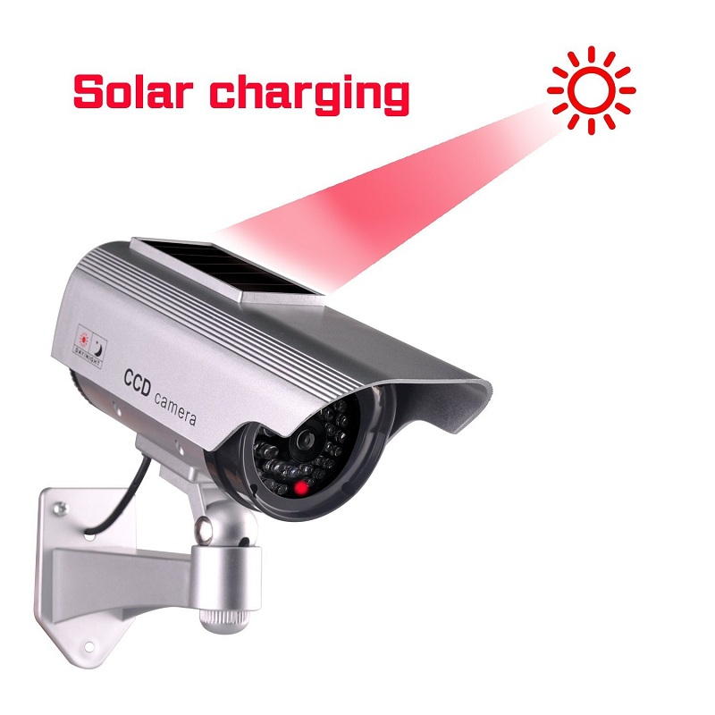 Home Cctv Security Fake Camera Solar Power Simulated Surveillance Dummy Camera Indoor Outdoor Mini Bullet Led Light Camera 2in1