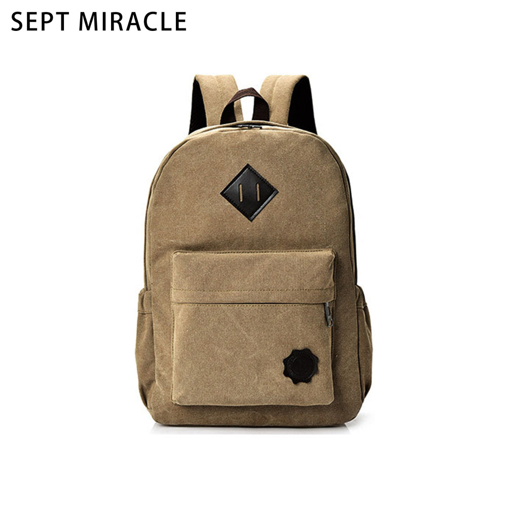 Backpack Women Casual Khaki Canvas Shoulder Bag Teenage New Simple Color Students School Bag Unisex Vintage Travel Rucksack fn01 multifunction canvas shoulder bag handbag backpack for women khaki