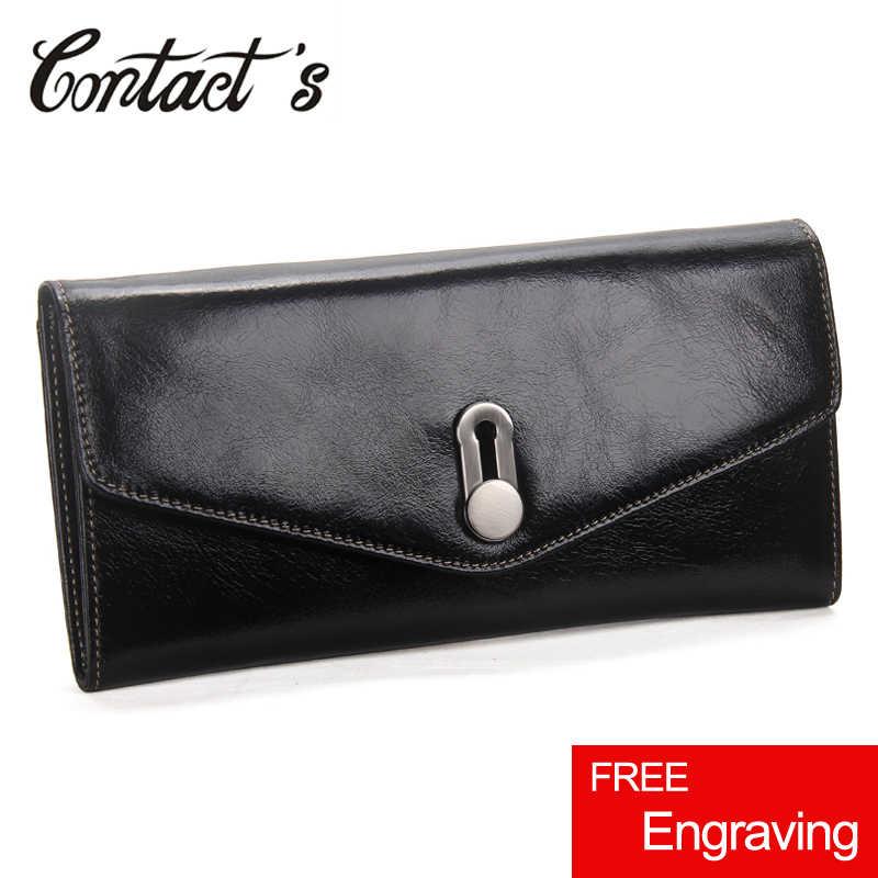 Moda feminina carteiras de couro genuíno feminino bolsa de embreagem para celular de alta capacidade senhoras passaporte bolsa titular do cartão