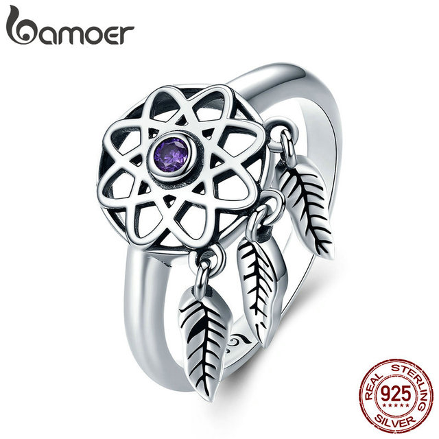 BAMOER Authentic 100% 925 Sterling Silver Beautiful Dream Catcher Holder Finger