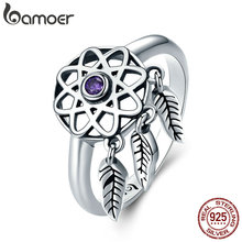 BAMOER Authentic 100% 925 Sterling Silver Beautiful Dream Catcher Holder Finger Ring Women Sterling Silver Jewelry SCR363