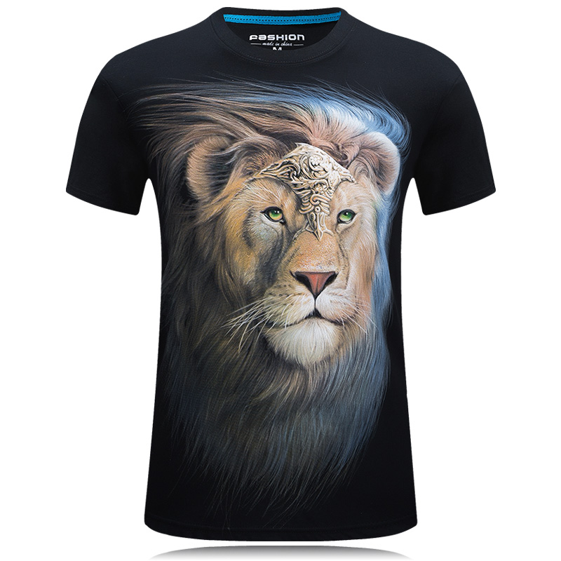 קיץ גברים לבן חולצת טריקו אריה מודפס 3d tshirt homme מקרית היפסטרס טיז חולצות זכר כותנה camisetas hombre מגניב עיצוב צמרות