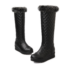 8018 plus size 2014 ladies fashion winter knee high women botas mujer flat heel long bottes femmes moon furry snow boots