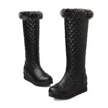 8018 plus size 2014 ladies fashion winter knee high women botas mujer flat heel long bottes femmes moon furry snow boots