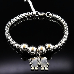 Boy and girl couple stainless steel bracelet for women silver color stainless steel bead bracelet jewelry.jpg 250x250