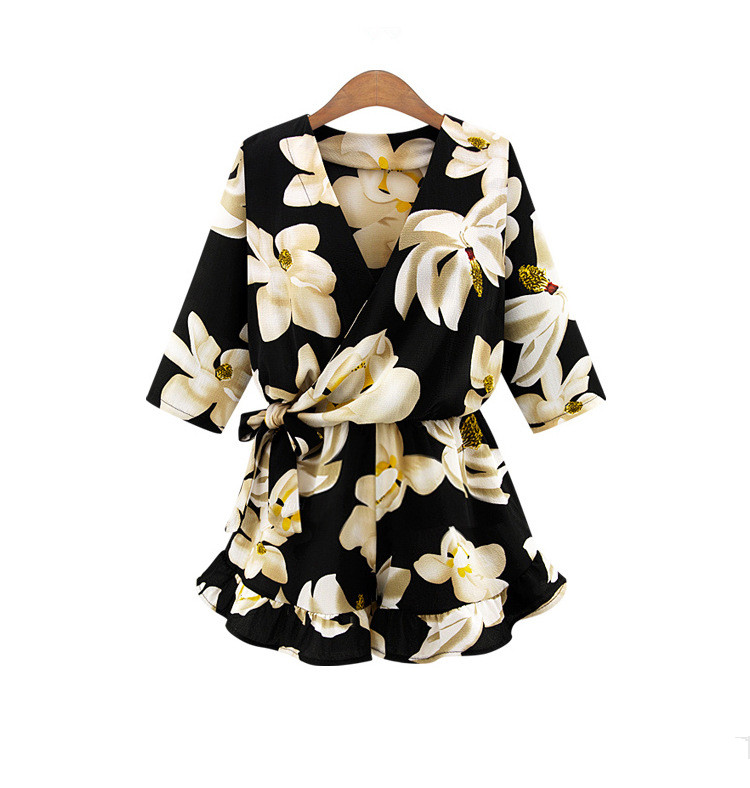 Floral Printed Women Sexy Short Playsuits Summer Beach Vintage Style Half Sleeve Romper Combinaison V Neck Plus Size S-5XL Cloth
