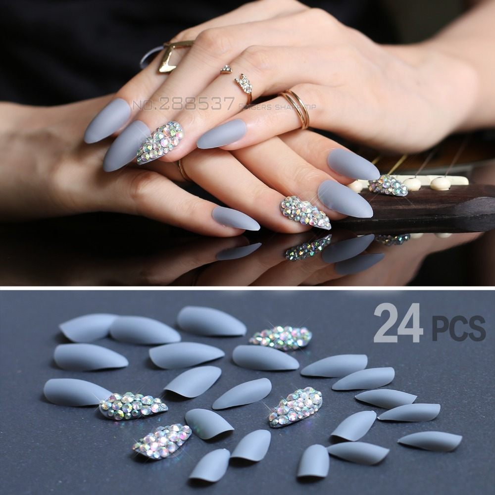 Aliexpress Buy Matte Gray Press On Nails Bling Nail Art False