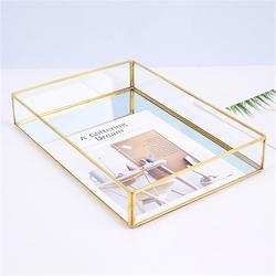 Nordic Retro Brass Storage Tray Golden rectangle Glass Makeup Organizer Tray Dessert Plate Jewelry Display Home Kitchen Decor