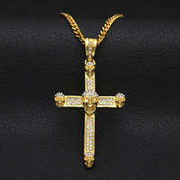 New Punk Style Mens Skull Head Cross Pendant Gold Color Skeleton Crucifix Hip Hop Necklace