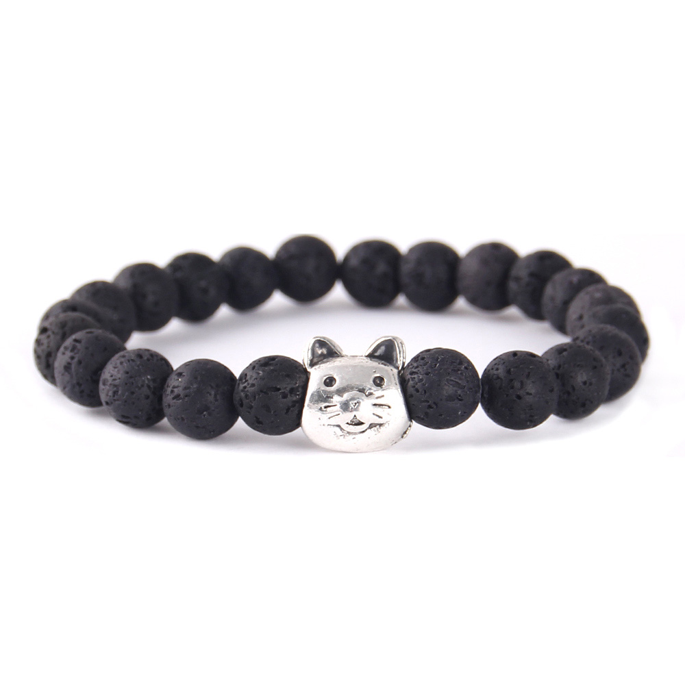 WML Horse Dog Cat Charm Yoga Healing Balance Reiki Buddha Lava Stone Beads women Bracelets Bangles For Women jewelry in Charm Bracelets from Jewelry Accessories