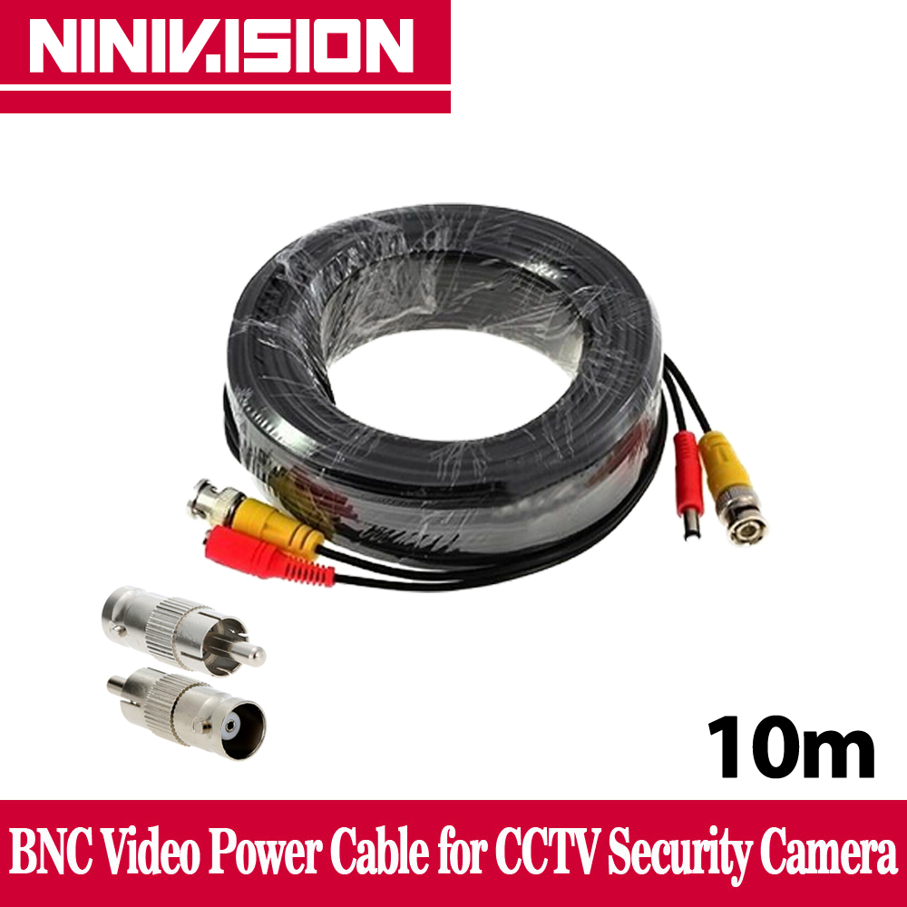 NINIVISION BNC cable 10M Power video Plug and Play Cable for CCTV camera system Security free shipping evolylcam 25m bnc cable plug and play power video cable for dvr system security cctv analog camera video transmission connector