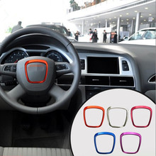 3D 3M aluminum steering wheel logo trim ring chrome Decal car-styling Automotive Interior Stickers For Audi A3 A4L A6L Q3 Q5 Q7