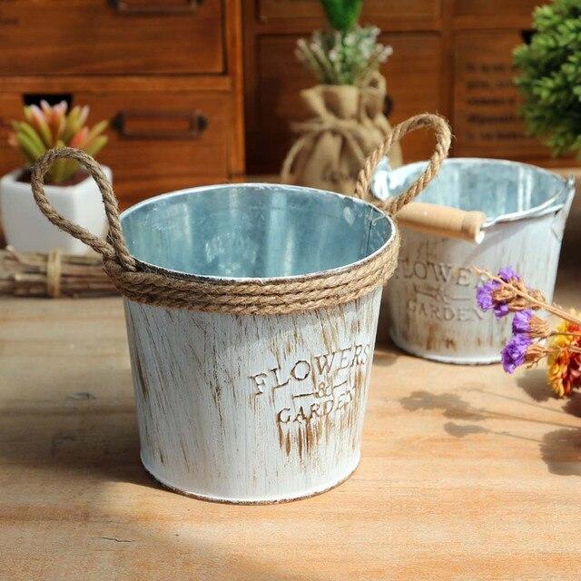 1 PZ Vintage Metal Iron Barile Vaso di Fiori Appeso Balcone Giardino Impianto Fi