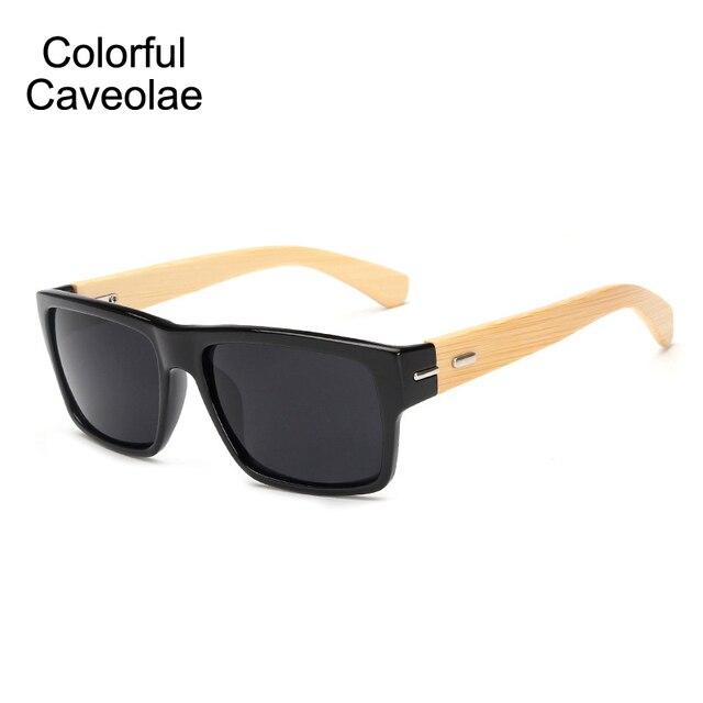 6e10d20e6 Colorido Caveolae Homem Quadrado Preto Óculos de Sol Dos Homens Óculos De  Sol De Bambu Do