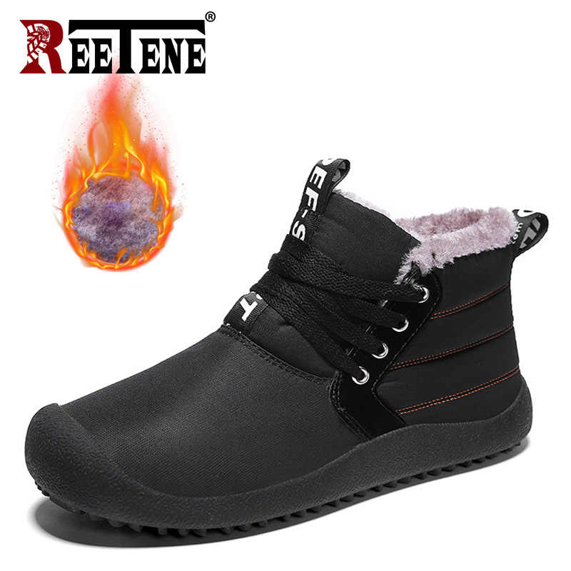 REETENE Hoge Kwaliteit Warme Schoenen Men'S Fashion Casual Soft Winter Schoenen Mannen Slijtvast Lace Up Mannen Flats Men'S winter Laarzen