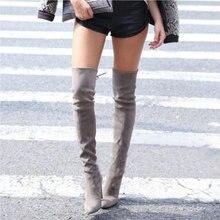 حذاء بوت عالي للنساء فوق الركبة من جلد الغزال عالي الكعب مثير للحفلات وحفلات الزفاف فوق الركبة حذاء للشتاء والخريف أسود ورمادي